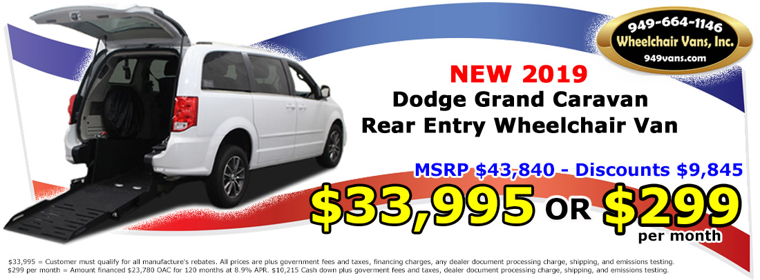 For Sale /2019 Dodge Grand Caravan SE Rear Entry Manual Wheelchair Van 33995