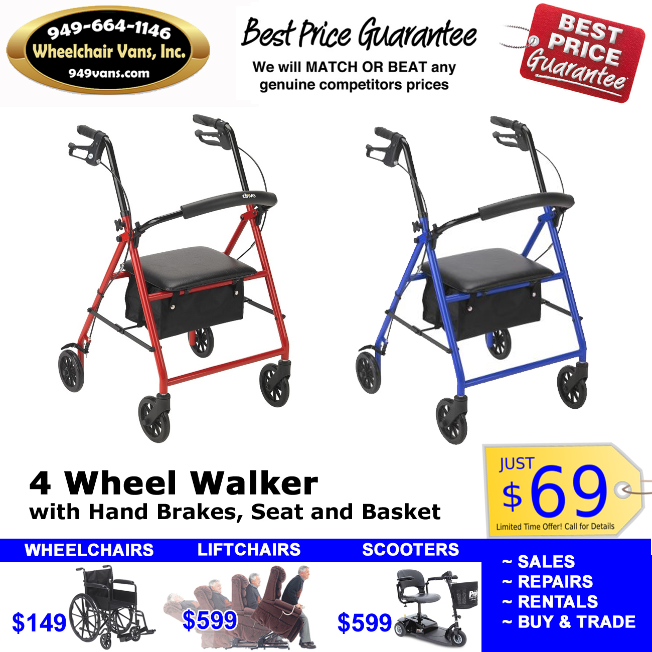 4 Wheel Walker Rollator Sale Orange County 69