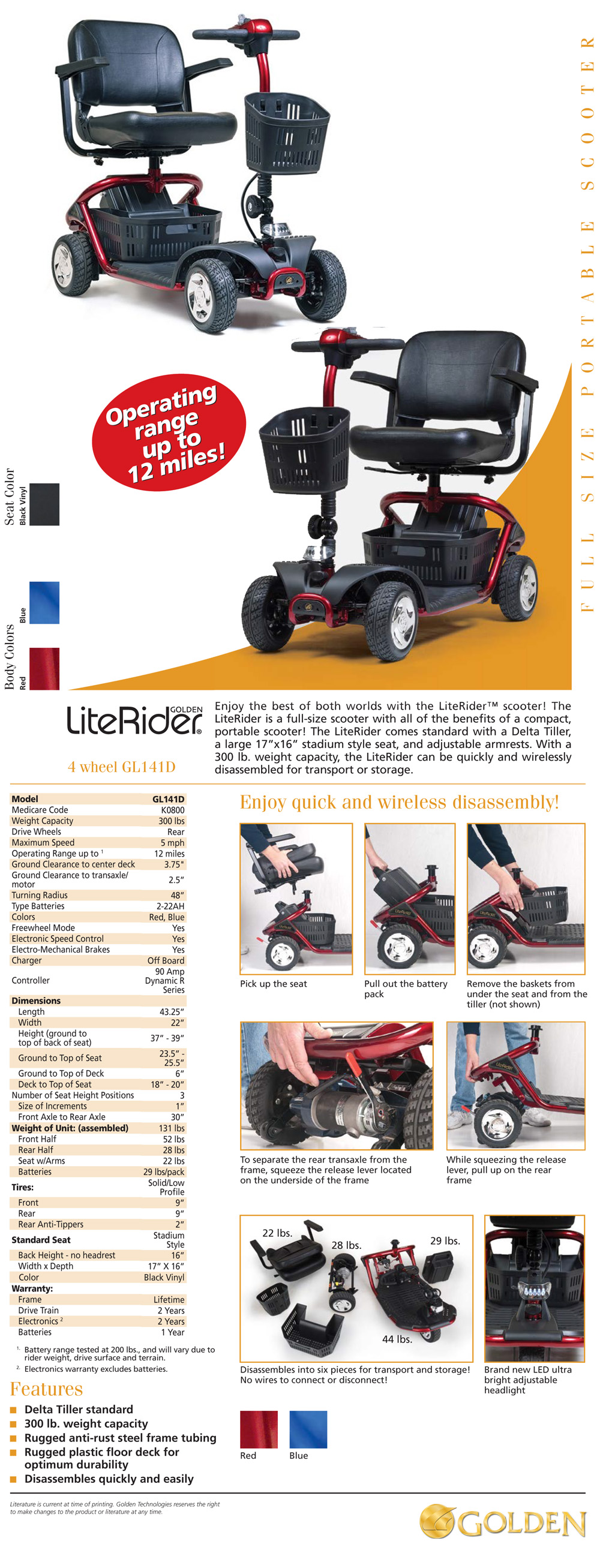 GL141 Golden Technologies Literider 4 wheel scooter