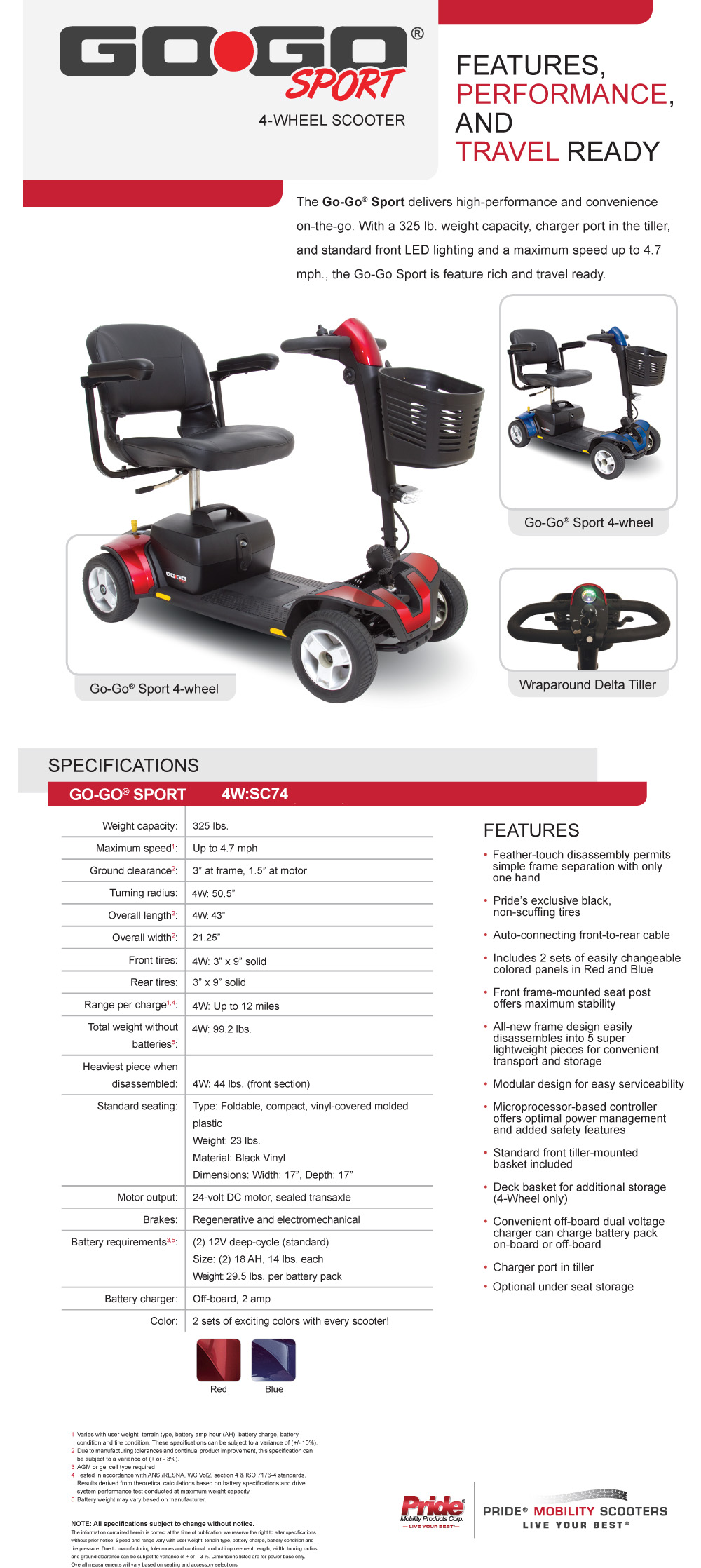 Pride Mobility GoGo Sport 4 Wheel Scooter