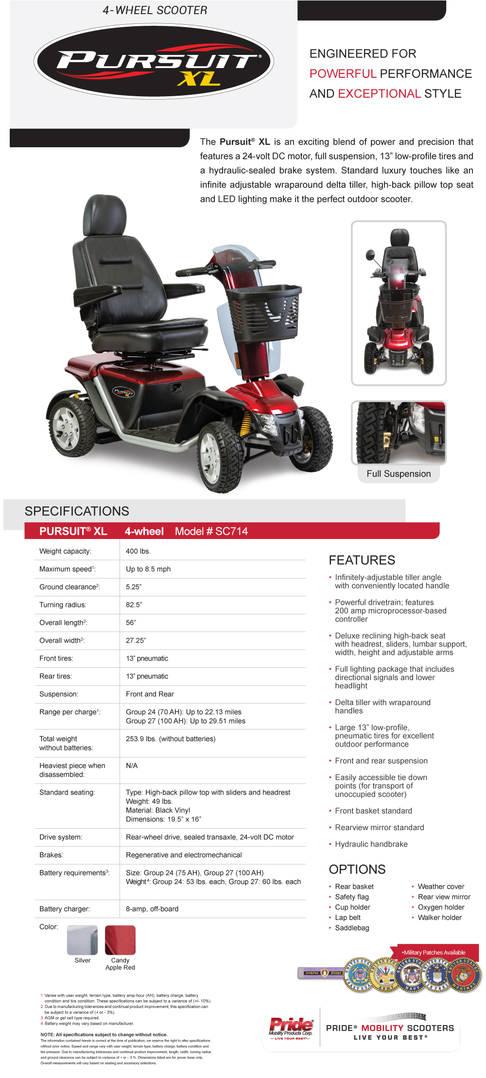Pride Mobility Pursuit XL 4 wheel Scooter