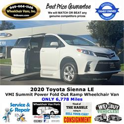 2020 Toyota Sienna VMI Summit Power Fold Out Ramp Side Loading Wheelchair Van